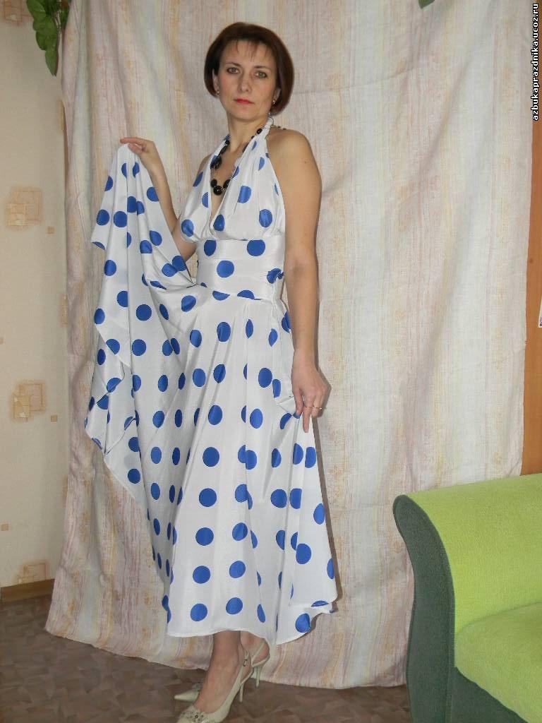 Платье Стиляги синий горох.